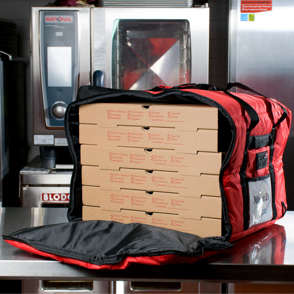 "Rubbermaid FG9F3900RED ProServe Insulated Delivery Bag Large Pizza / Catering / Sandwich Bag Red Nylon 19 3/4"" x 19 3/4"" x 13"""