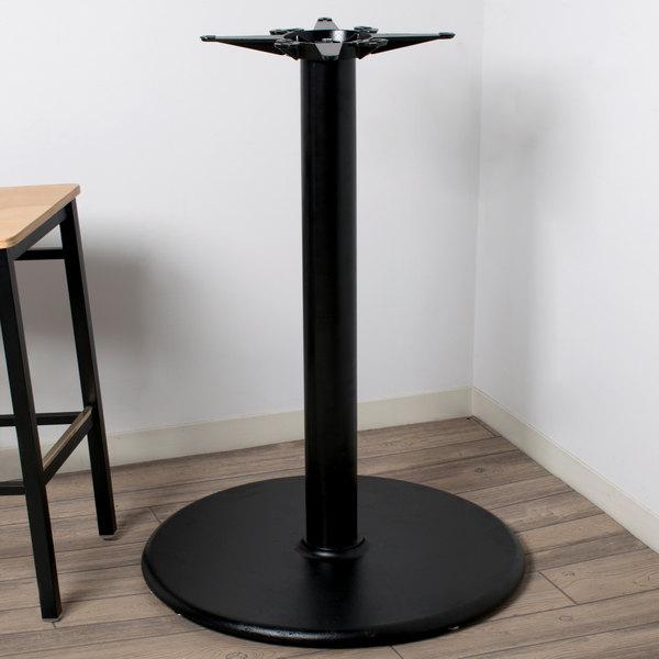 lancaster table seating 30 black round bar height table base 4 rh webstaurantstore com bar height table base wood bar height table base with foot ring