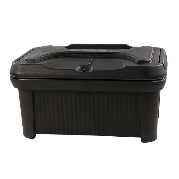 """Carlisle XT180003 Cateraide™ Slide 'N Seal™ Black Top Loading 8"""" Deep Insulated Food Pan Carrier with Sliding Lid Main Image 1"""