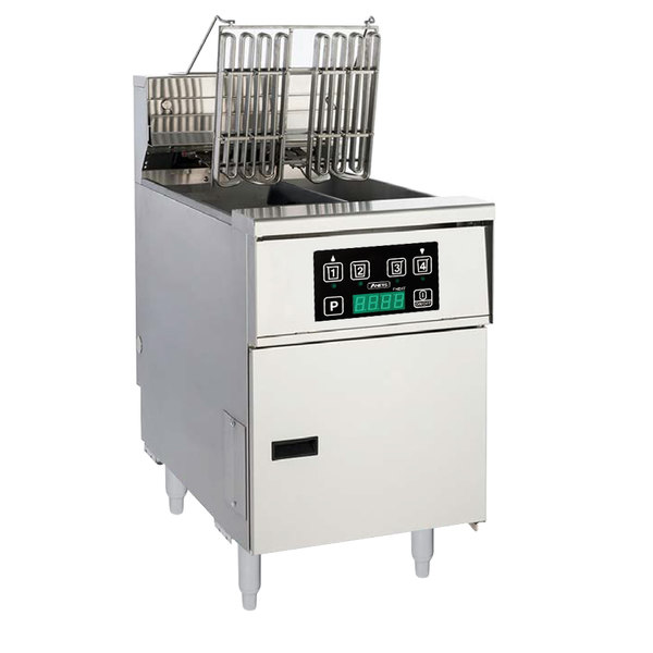 Anets AEH14TX D 20-25 lb. High Efficiency Twin Vat Electric Floor Fryer with Digital Controls - 208V, 3 Phase, 14 kW