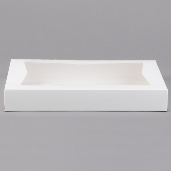"""12 1//2/"""" x 9 3//8/"""" x 3 1//4/""""  White Auto-Popup 1-Piece Donut Box Pack of 15"""