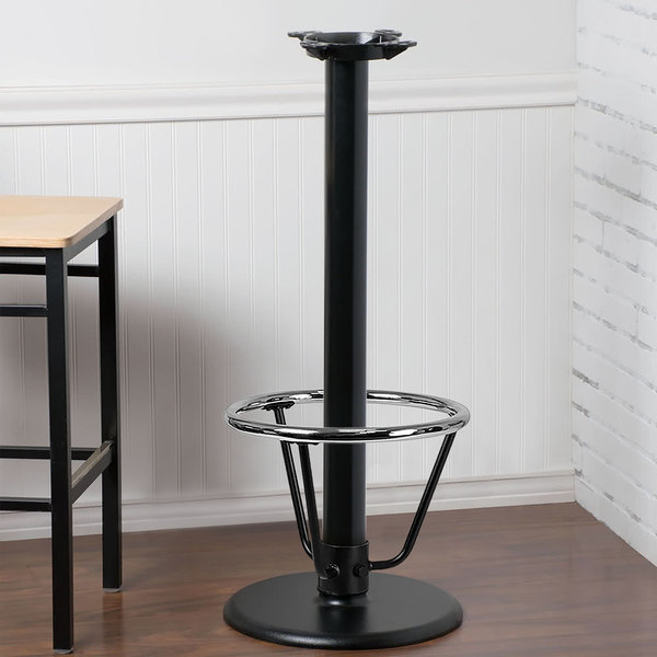 "Lancaster Table & Seating 17"" Round Black 3"" Bar Height Column Table Base with 16"" Foot Rest"