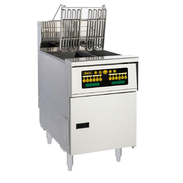 Anets AEH14TX C 20-25 lb. High Efficiency Twin Vat Electric Floor Fryer with Computer Controls - 208V, 3 Phase, 14 kW Main Image 1