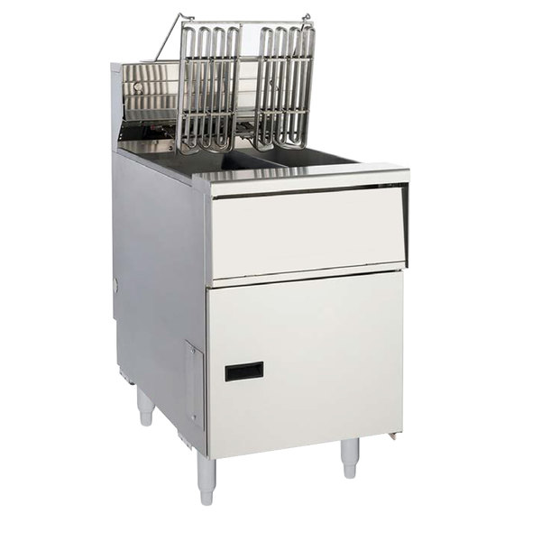 Anets AEH14T SSTC 20-25 lb. High Efficiency Twin Vat Electric Floor Fryer with Solid State Thermostatic Controls - 208V, 3 Phase, 17 kW
