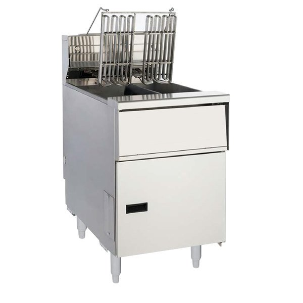 Anets AEH14T SSTC 20-25 lb. High Efficiency Twin Vat Electric Floor Fryer with Solid State Thermostatic Controls - 208V, 1 Phase, 17 kW