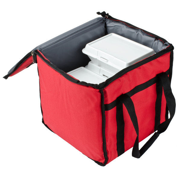 """San Jamar FC1212-RD 12"""" x 12"""" x 12"""" Red Insulated Nylon Food Delivery Bag"""