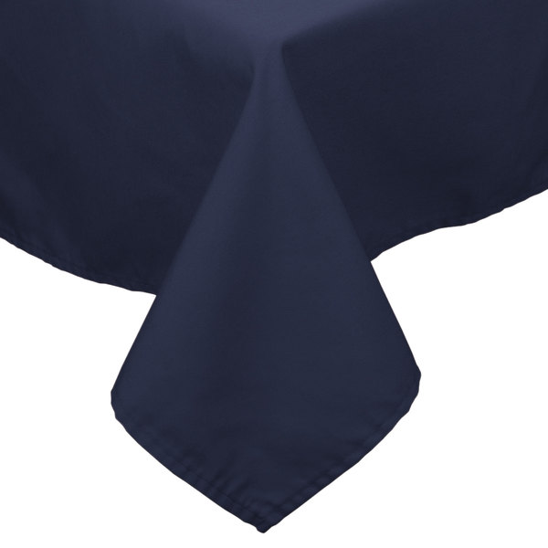 90 inch x 90 inch Navy Blue 100% Polyester Hemmed Cloth Table Cover