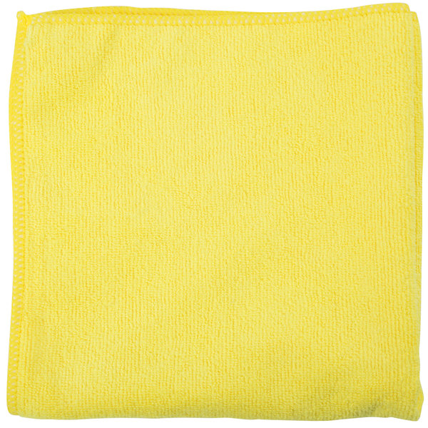 """Unger MC40J SmartColor MicroWipe 16"""" x 16"""" Yellow Light-Duty Microfiber Cleaning Cloth - 10/Pack"""
