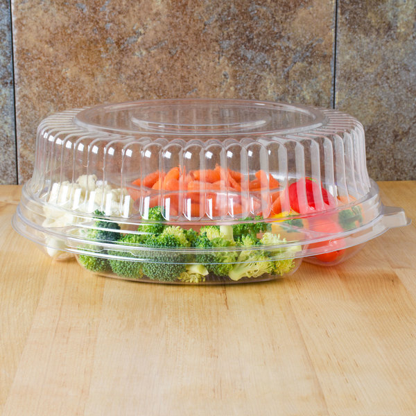 """Fineline Platter Pleasers 9201-L 12"""" Clear PET Plastic Round High Dome Lid - 25/Case Main Image 8"""