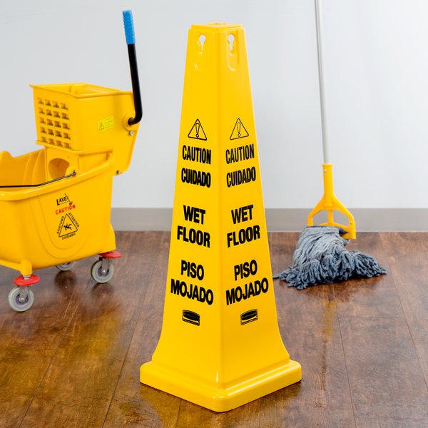 "Rubbermaid FG627677YEL 36"" Yellow Bilingual Wet Floor Cone-Shaped Sign - ""Caution Wet Floor"""