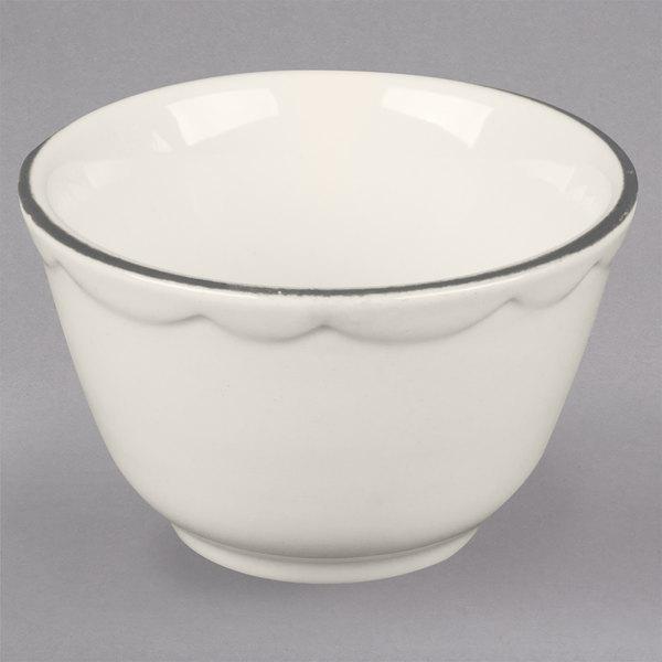 7.25 oz. Ivory Scalloped Edge China Bouillon Bowl with Black Band - 36/Case Main Image 1