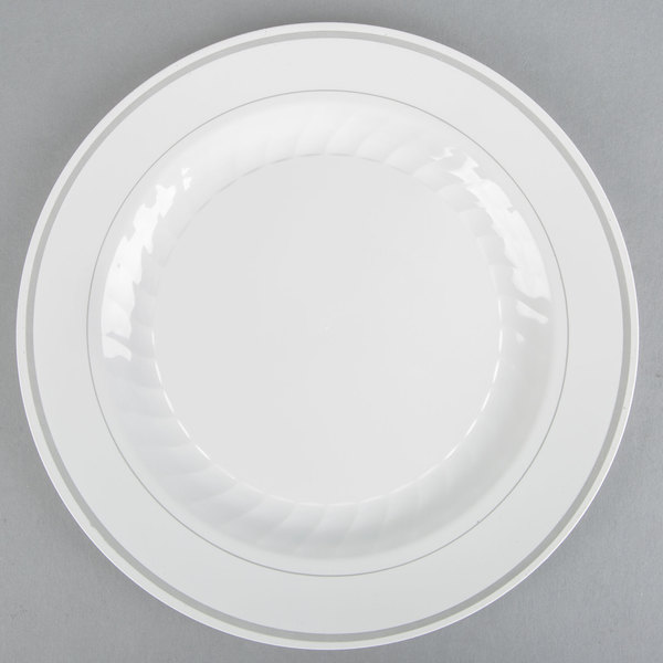 WNA Comet MP10WSLVR 10 1/4 inch White Masterpiece Plastic Plate with Silver Accent Bands  - 12/Pack