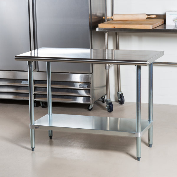 """Advance Tabco GLG-304 30"""" x 48"""" 14 Gauge Stainless Steel Work Table with Galvanized Undershelf"""
