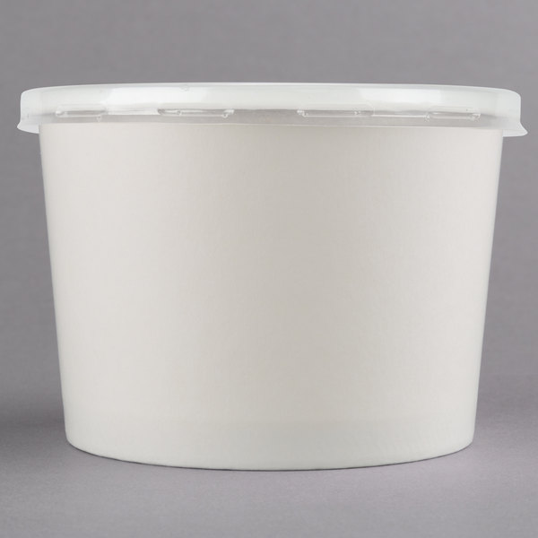Choice 12 oz. White Double Poly-Coated Paper Soup / Hot Food Cup with Vented Plastic Lid - 250/Case