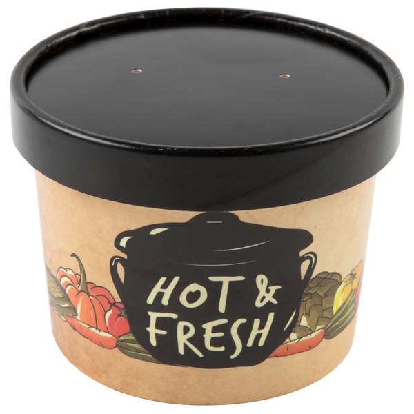 Choice 12 oz  Medley Double Poly-Coated Paper Soup / Hot Food Cup with  Vented Paper Lid - 250/Case