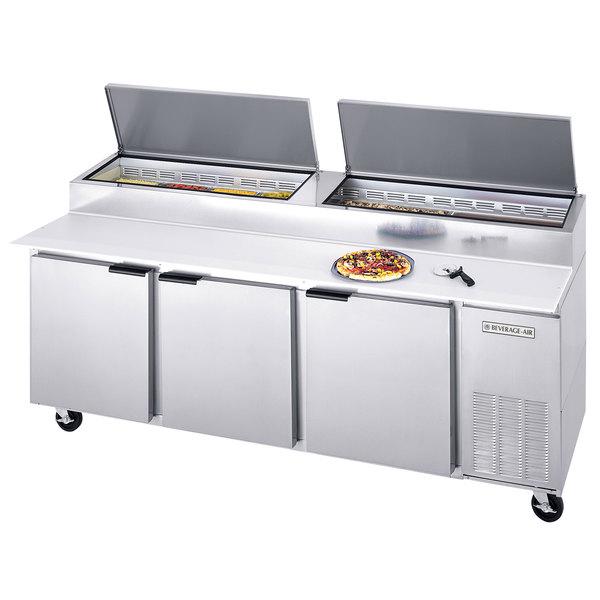 "Beverage-Air DP93 93"" Three Door Pizza Prep Table"