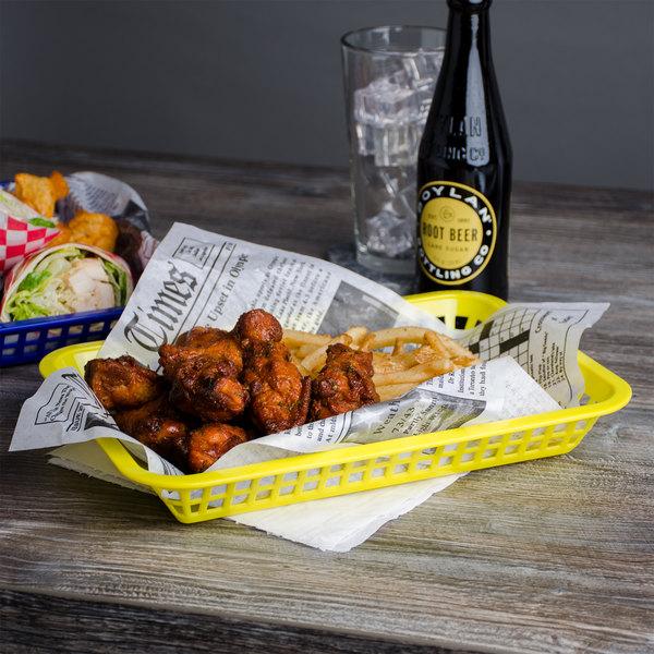 "Choice 12"" x 8 1/2"" x 1 1/2"" Yellow Rectangular Plastic Fast Food Basket - 12/Pack Main Image 4"