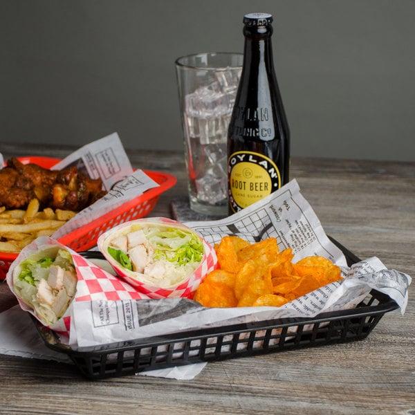 "Choice 12"" x 8 1/2"" x 1 1/2"" Black Rectangular Plastic Fast Food Basket - 12/Pack"