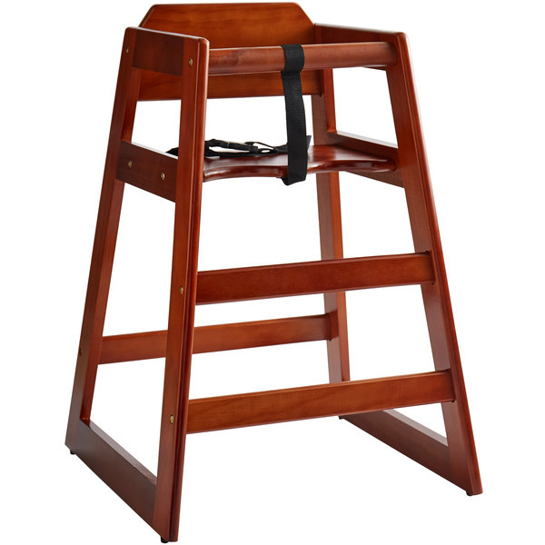 Lancaster Table & Seating Ready-to-Assemble Stacking Restaurant Wood High  Chair with Walnut Finish