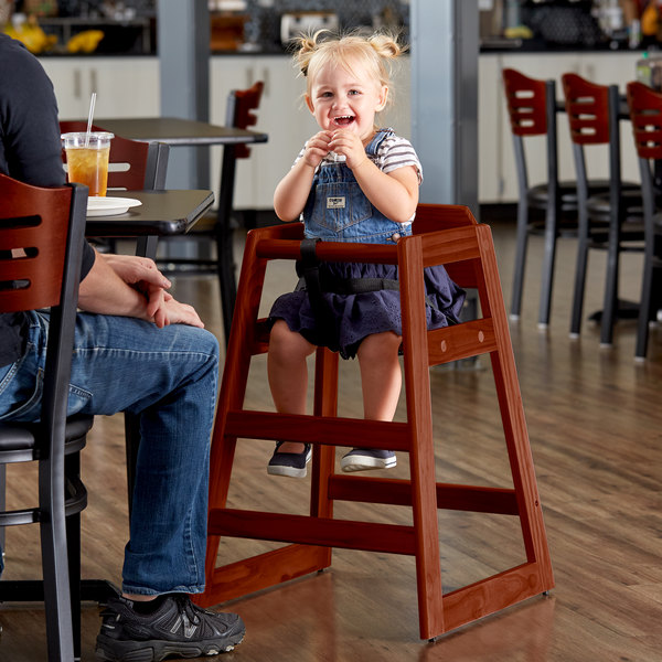 Lancaster Table & Seating Ready-to-Assemble Stacking Restaurant Wood High Chair with Walnut Finish Main Image 4