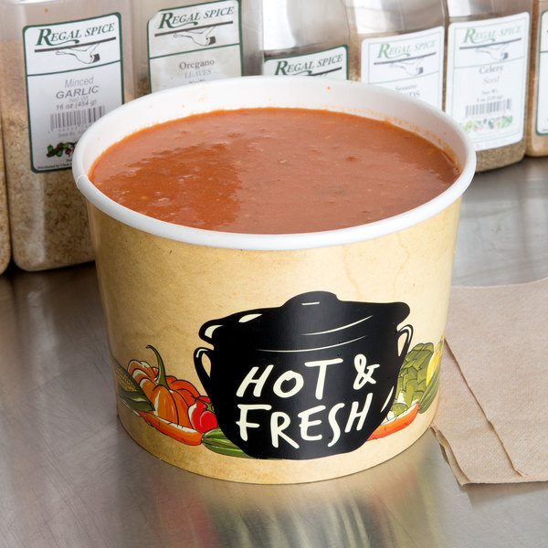 Choice 64 oz. Medley Double Poly-Coated Paper Soup / Hot Food Cup - 150/Case Main Image 2