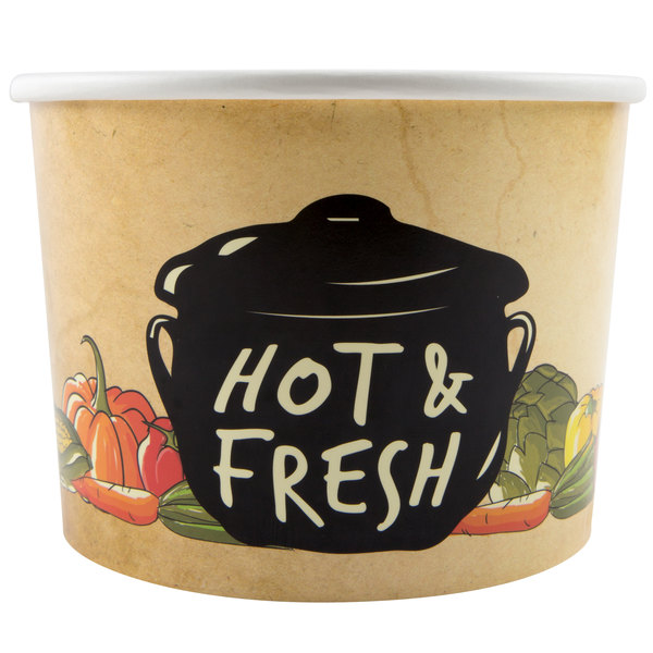 Choice 64 oz. Medley Double Poly-Coated Paper Soup / Hot Food Cup - 150/Case