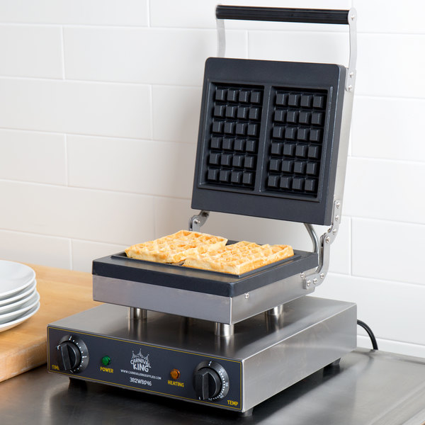 Carnival King WBS46 Brussels Style Waffle Maker with Timer - 120V Main Image 4
