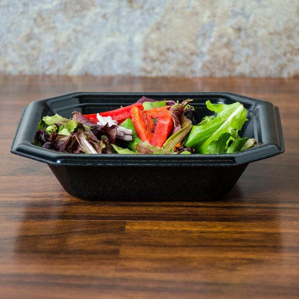 Genpak SQ70 Premium 20 oz. Laminated Black Square Foam Bowl - 500/Case