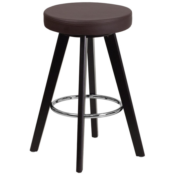 Flash Furniture CH-152600-BRN-VY-GG Trenton Series Cappuccino Wood Counter Height Stool with Brown Vinyl Seat