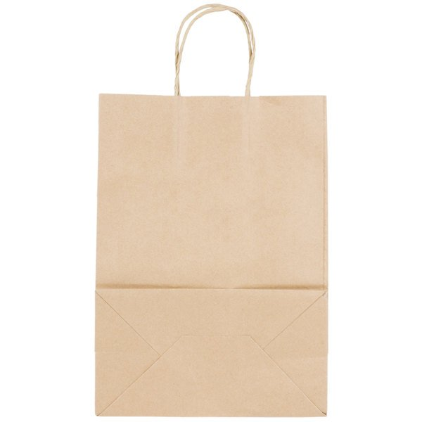 Natural Kraft Small Shopping Bag with Handles 10 inch x 5 1/2 inch x 13 1/4 inch - 250/Bundle