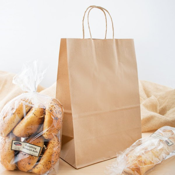 """Small 10/"""" x 5 1//2/"""" x 13 1//4/"""" Natural Kraft Shopping Bag with Handles 250 Pack"""