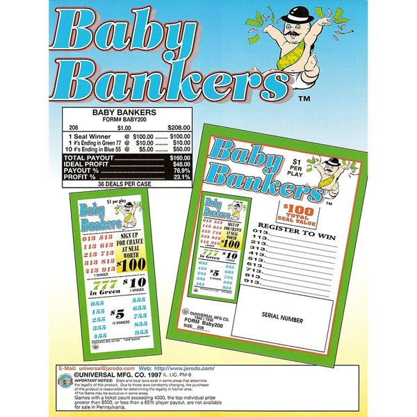 """Baby Bankers"" 5 Window Pull Tab Tickets - 208 Tickets Per Deal - Total Payout: $160"