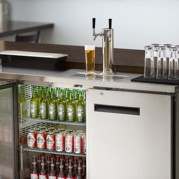 Avantco UDD-2-HC-S Stainless Steel Kegerator / Beer Dispenser with (1) 2 Tap Tower - (2) 1/2 Keg Capacity