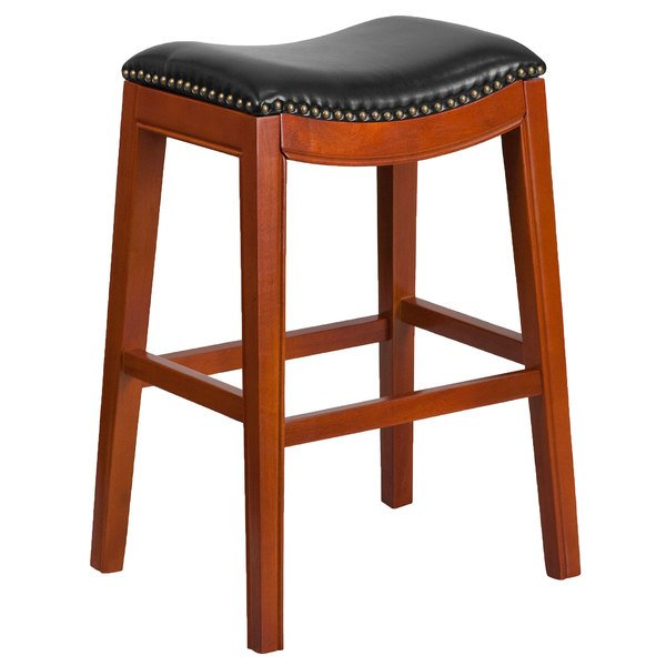 Flash Furniture TA-411030-LC-GG Light Cherry Wood Bar Height Stool with Black Leather Saddle Seat Main Image 1