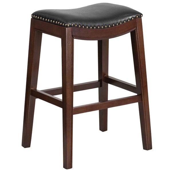 Flash Furniture TA-411030-CA-GG Cappuccino Wood Bar Height Stool with Black Leather Saddle Seat