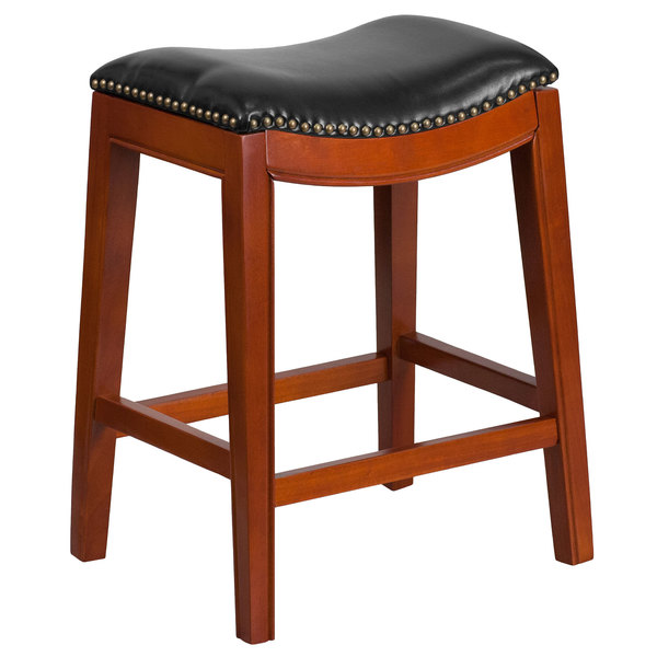 Flash Furniture TA-411026-LC-GG Light Cherry Wood Counter Height Stool with Black Leather Saddle Seat Main Image 1
