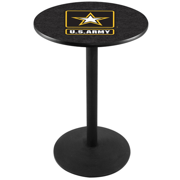 """Holland Bar Stool L214B3628Army 28"""" Round United States Army Pub Table with Black Round Base"""