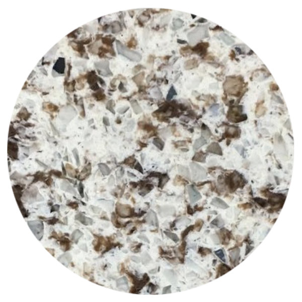 "Art Marble Furniture Q411 30"" Round Chocolate Blizzard Quartz Tabletop"