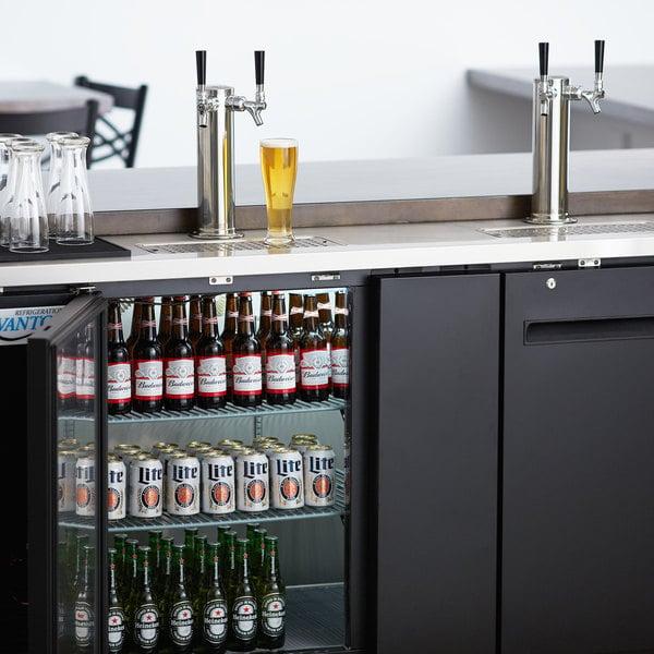 Avantco UDD-3-HC Black Kegerator / Beer Dispenser with (2) 2 Tap Towers - (3) 1/2 Keg Capacity