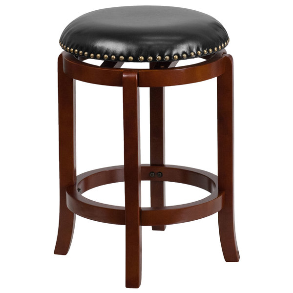 Flash Furniture TA-68924-LC-CTR-GG Light Cherry Counter Height Stool with Black Leather Swivel Seat Main Image 1