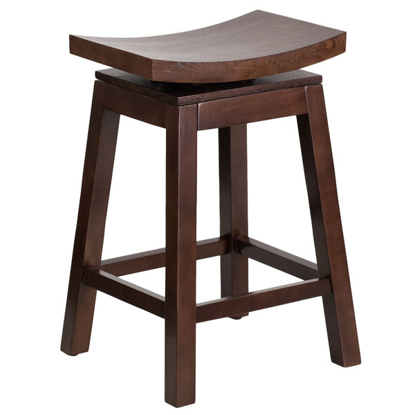 Flash Furniture TA-SADDLE-2-GG Cappuccino Wood Counter Height Stool with Auto Swivel Seat Main Image 1