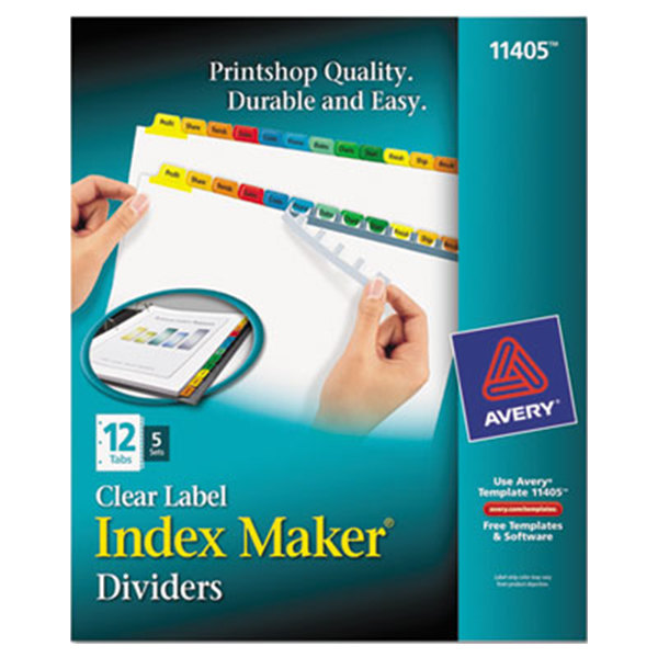 Avery 11405 Index Maker 12-Tab Multi-Color Divider Set with Clear Label Strip - 5/Pack