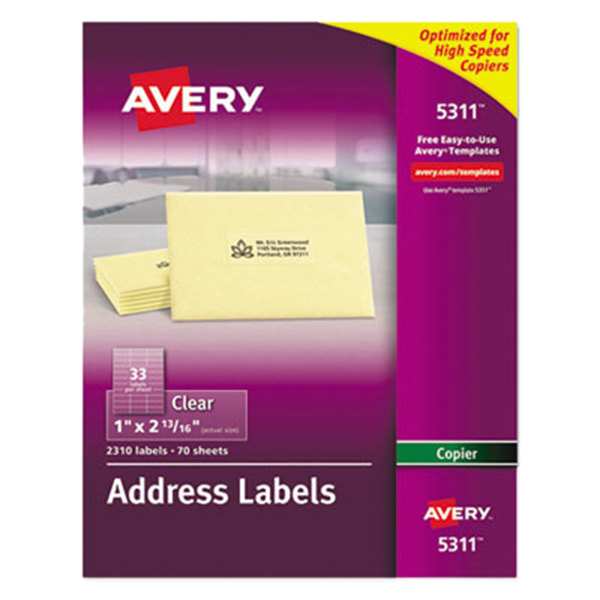 "Avery 5311 Easy Peel 1"" X 2 13/16"" Clear Copier Mailing"