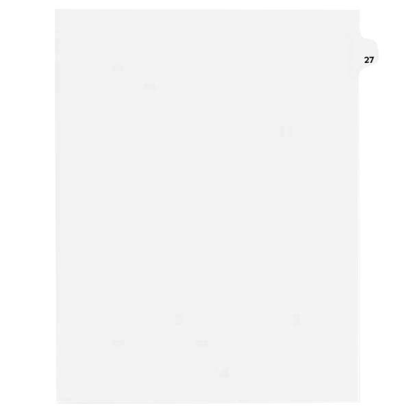 Avery 1027 Individual Legal Exhibit #27 Side Tab Divider - 25/Pack