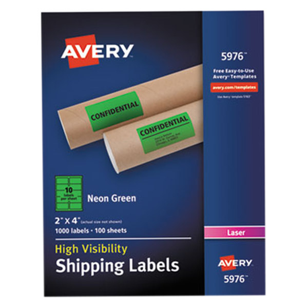 """Avery 5976 2"""" x 4"""" Neon Green Shipping Labels - 1000/Box"""