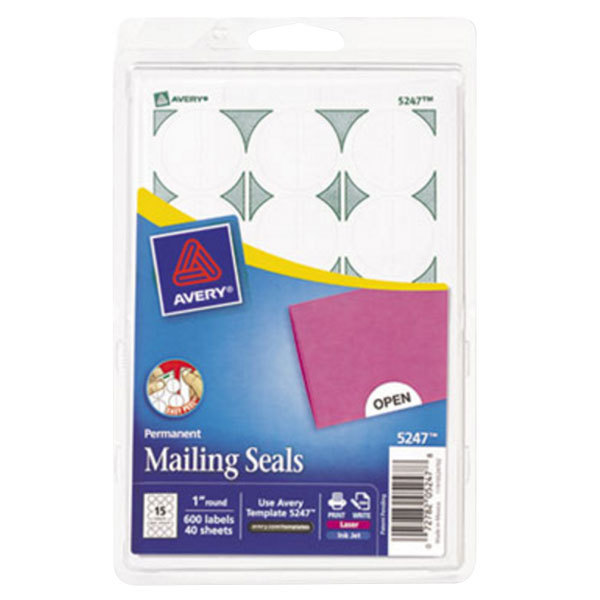 """Avery 5247 1"""" White Round Write-On / Printable Mailing Seals - 600/Pack Main Image 1"""