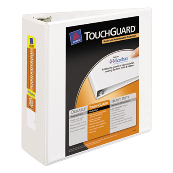 """Avery 17145 White TouchGuard Antimicrobial View Binder with 4"""" Slant Rings Main Image 1"""