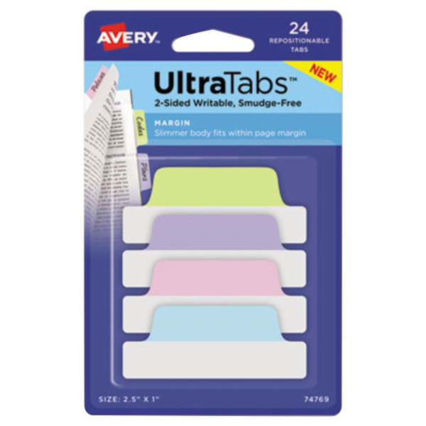 """Avery 74769 Ultra Tabs 2 1/2"""" x 1"""" Assorted Pastel Color Repositionable Tab - 24/Pack"""