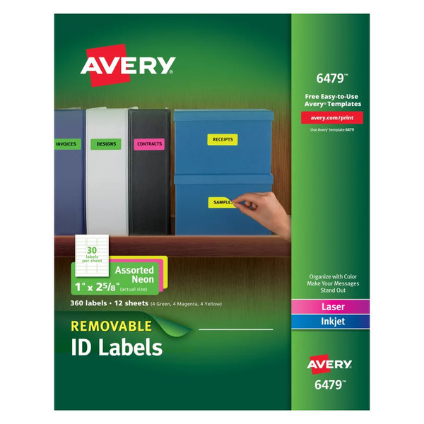 "Avery 6479 1"" x 2 5/8"" Assorted Neon Color Removable ID Labels - 360/Pack Main Image 1"
