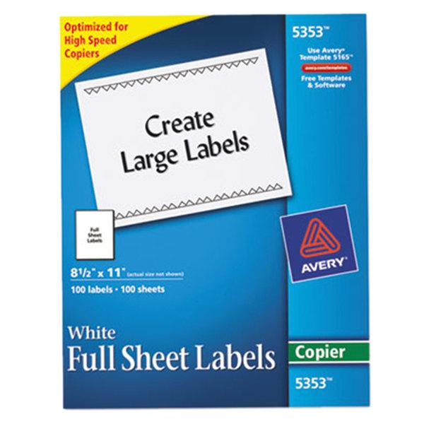 "Avery 5353 8 1/2"" x 11"" White Copier Labels - 100/Box Main Image 1"